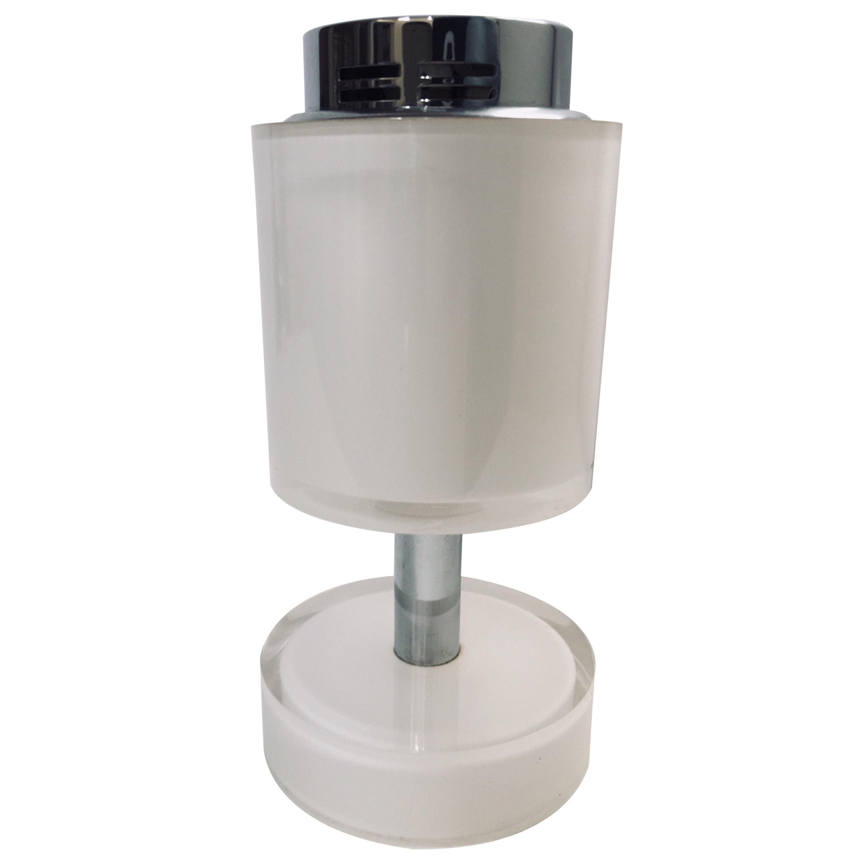 Postmodern Lucite White Table Lighter, Germany