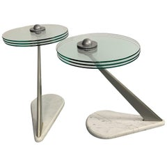 Postmodern Marble and Glass Drinks Tables by Bruce Kaiser of Kaiser Newman