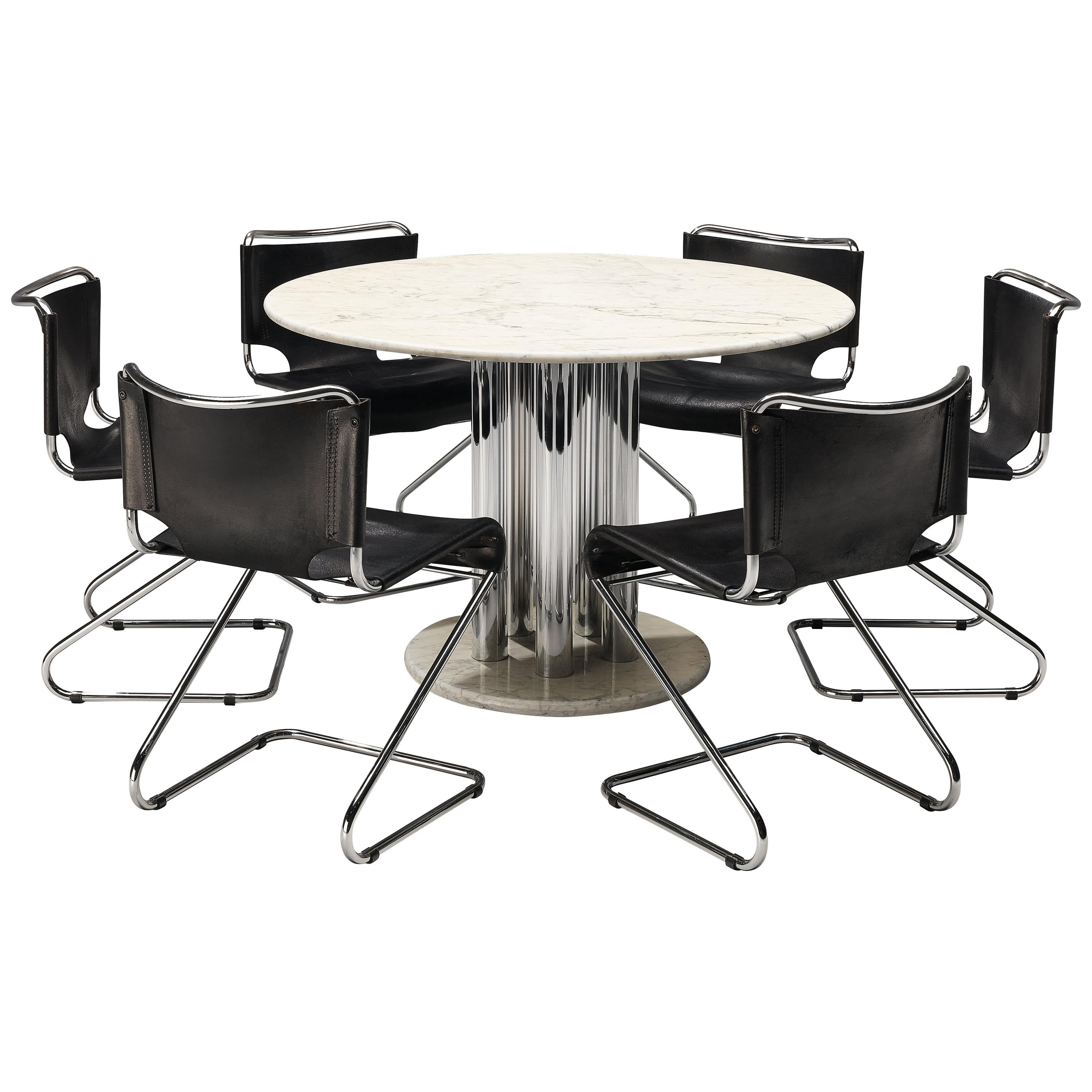Postmodern Marble Dining Table with Pascal Mourgue 'Biscia' Chairs in Leather