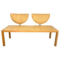 Postmodern Memphis Style Oak and Raffia Bench or Settee, Italy, 1980s