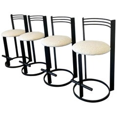 Postmodern Memphis Milano Style Bar Stools, Set of 4 in Heavy Boucle