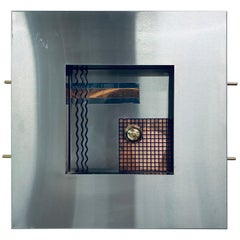 Postmodern Memphis Style Dimensional Mixed-Metal Wall Sculpture, 1980s '2 of 4'