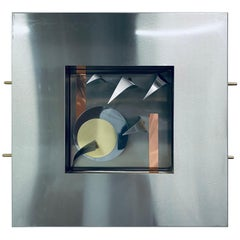 Postmodern Memphis Style Dimensional Mixed Metal Wall Sculpture, 1980s '3 of 4'
