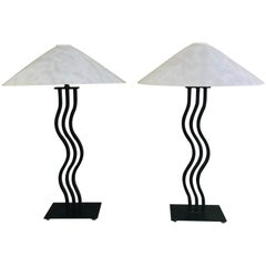 Postmodern Memphis Style Sculptural Curved Wavy Lamps by Alsy, 1980s
