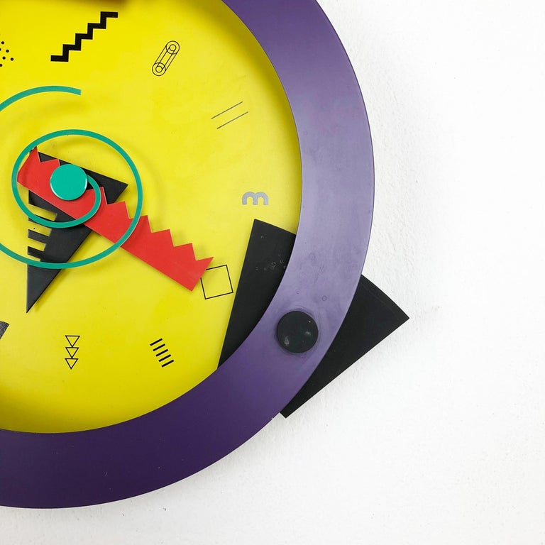 Metal Postmodern Memphis Wall Clock