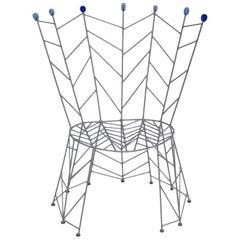 Postmodern Metal Blue Vintage Side Chair Bohuslav Horak 1988 Czech Republic