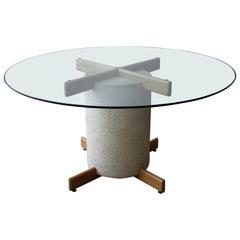 Postmodern Minimalist Oak and Plaster Dining Table Base