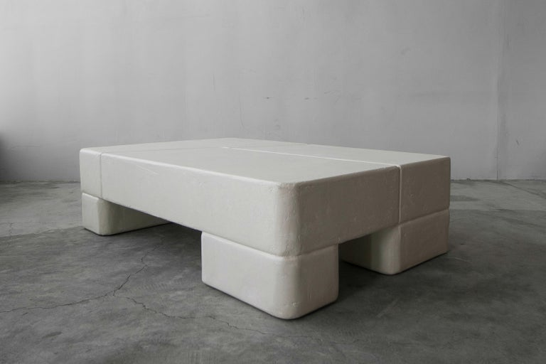 A wonderful oversized plaster coffee table, with lots of depth and texture. The perfect piece to add some serious interest and style to any space. Truly a beautiful piece of art. Form and function.