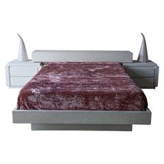 Postmodern Minimalist Plaster Platform Bed Set