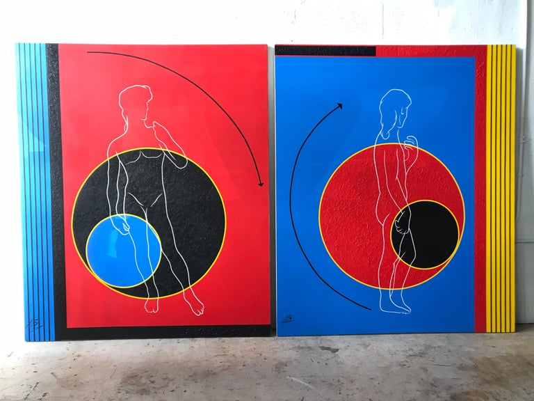 Postmodern Mod Geometric and Figural Painting, Back, Signed AB For Sale 1
