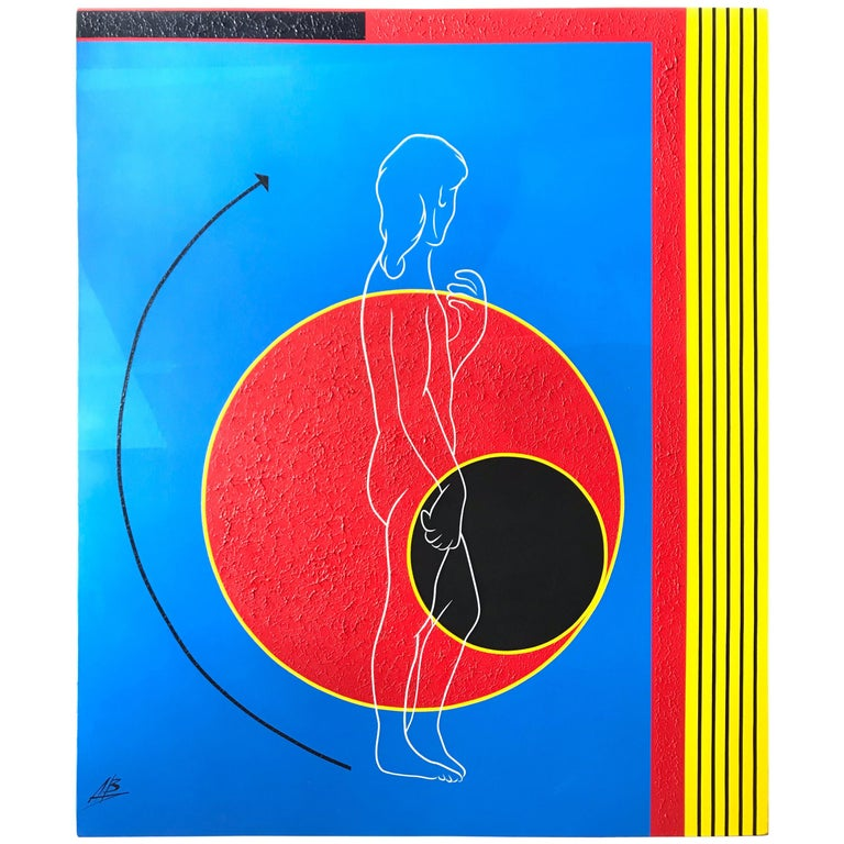 Postmodern Mod Geometric and Figural Painting, Back, Signed AB For Sale