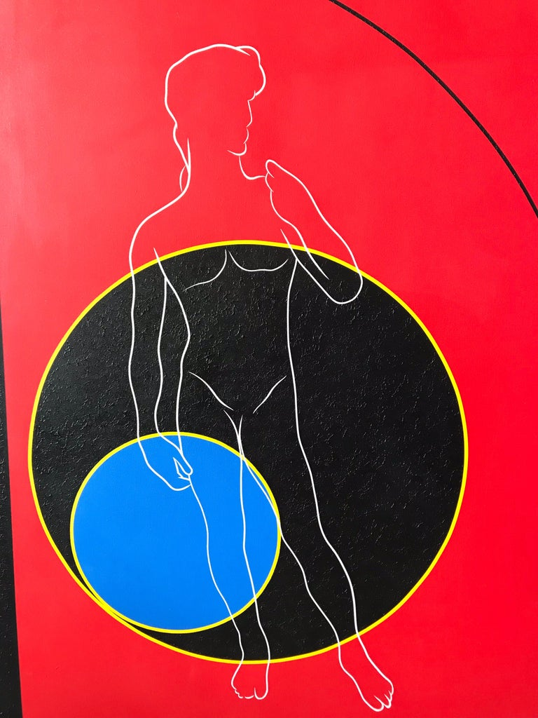 Post-Modern Postmodern Mod Geometric and Figural Painting, Facing, Signed AB For Sale
