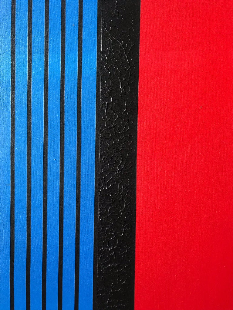 Postmodern Mod Geometric and Figural Painting, Facing, Signed AB In Good Condition For Sale In Miami, FL