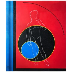 Postmodern Mod Geometric and Figural Painting, Facing, Signed AB