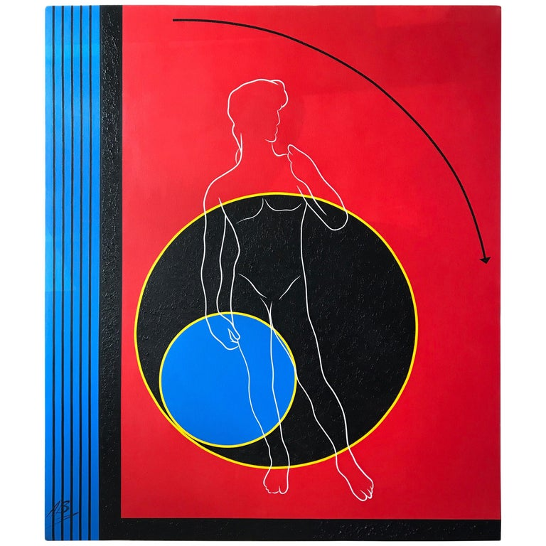Postmodern Mod Geometric and Figural Painting, Facing, Signed AB For Sale