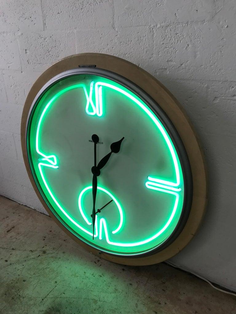 Postmodern Monumental Howard Miller Neon Wall Clock For