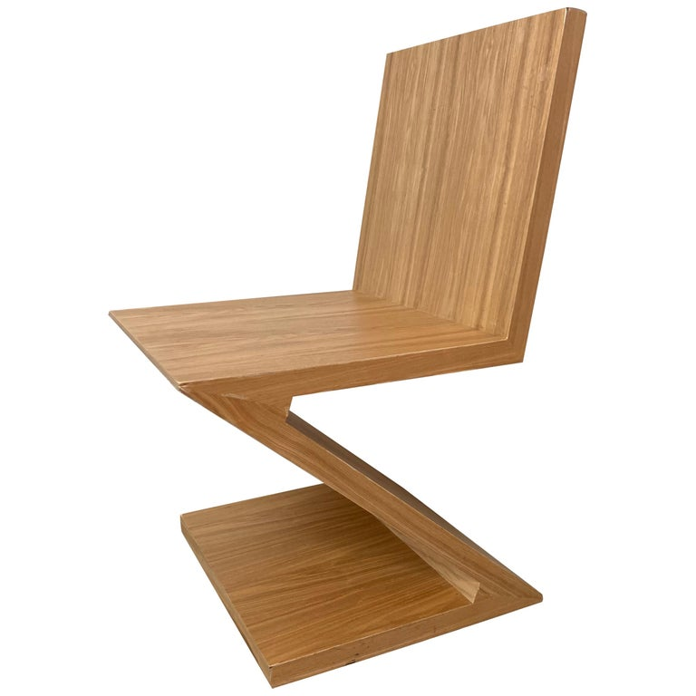Postmodern Oak Zig Zag Chair, USA, 1980s For Sale