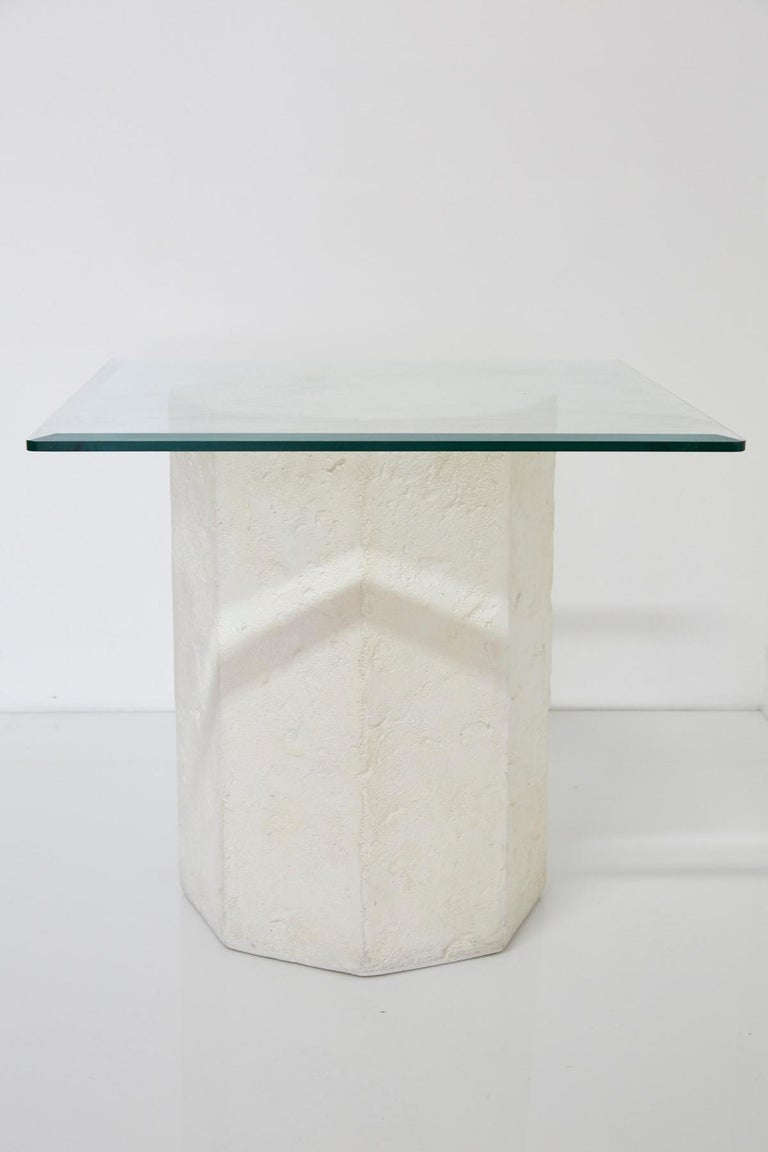 Post-Modern Postmodern Octagonal Distressed Plaster Side Table or Pedestal For Sale