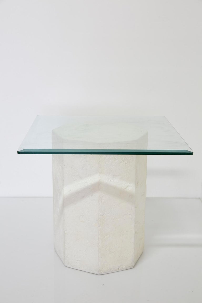Postmodern Octagonal Distressed Plaster Side Table or Pedestal In Good Condition For Sale In Los Angeles, CA