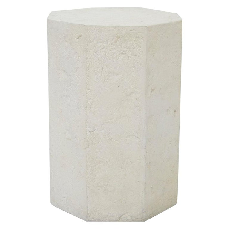 Postmodern Octagonal Distressed Plaster Side Table or Pedestal For Sale