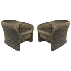 Postmodern Overscale Custom Lounge Club Chairs, a Pair