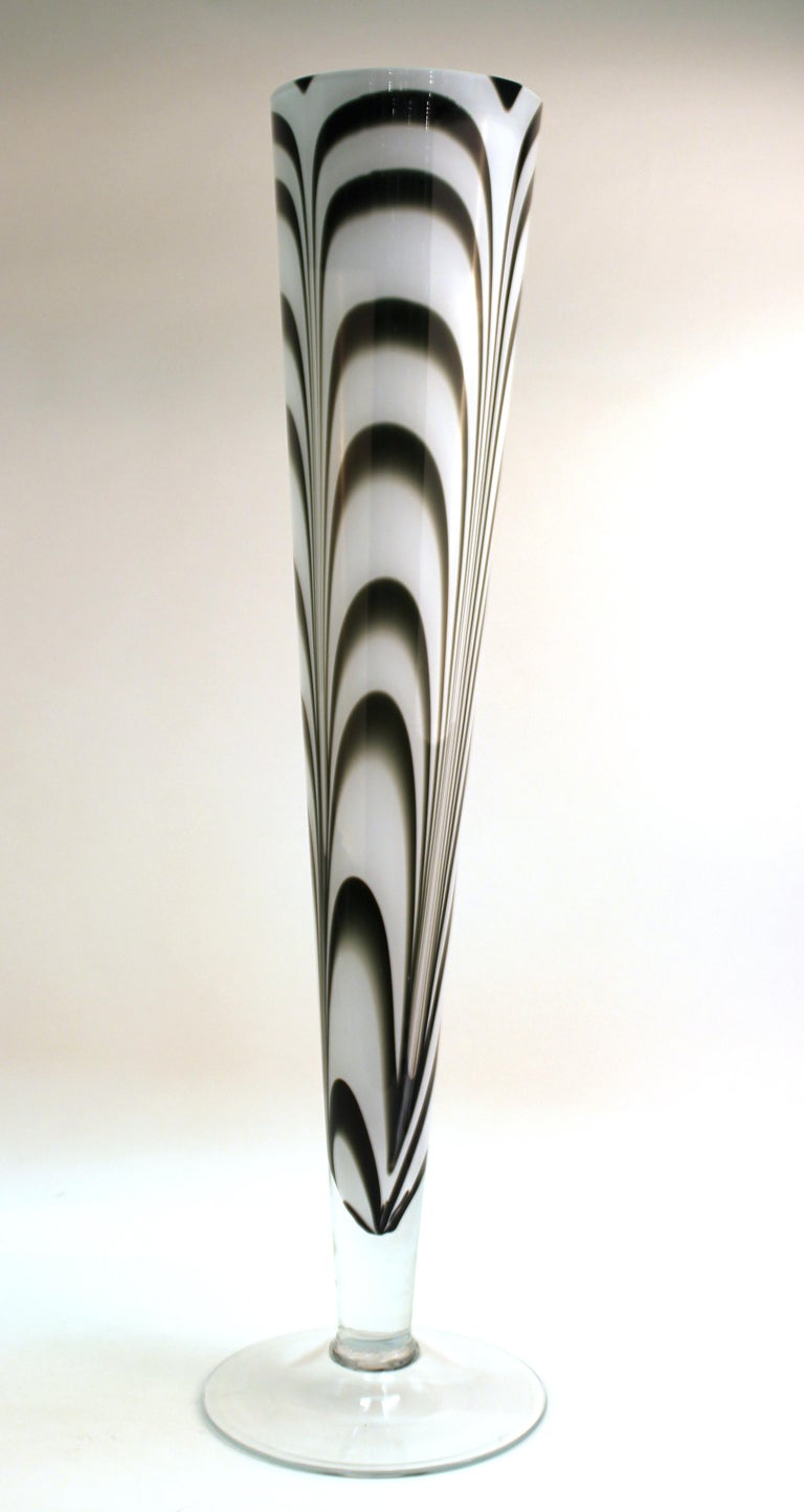 Modern Postmodern Oversized Feathered Art Glass Vase For Sale