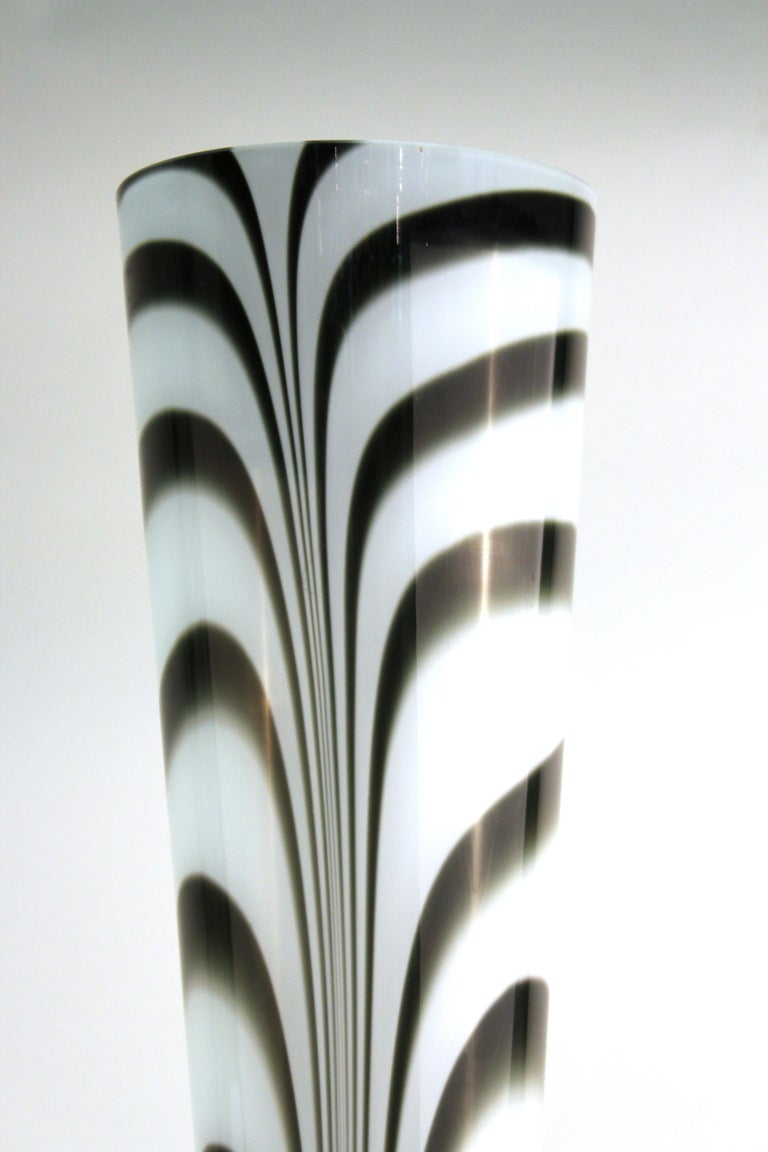 20th Century Postmodern Oversized Feathered Art Glass Vase For Sale