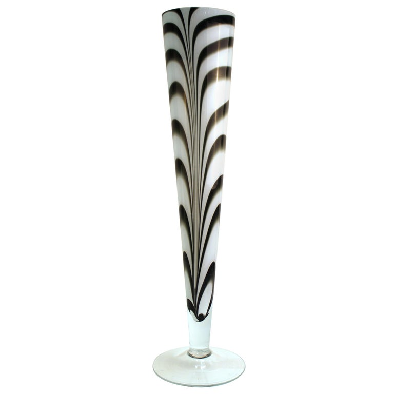 Postmodern Oversized Feathered Art Glass Vase For Sale