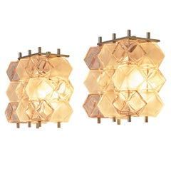 Postmodern Pair of Wall Lights in Bicolored Glass Cubes