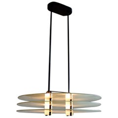 Postmodern Pendant Light of Frosted Glass and Black Steel, Italy, 1980s