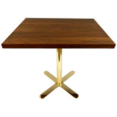 Postmodern Petite Bistro Table in Solid Walnut Top and Brass Base
