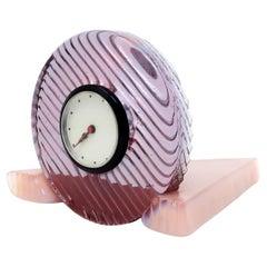Postmodern Pink Glass Clock
