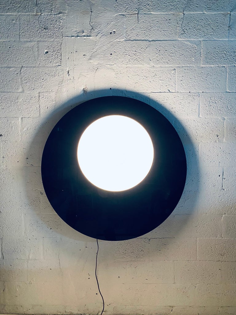 Postmodern Plexiglass Lunar Eclipse Orb Wall Mounted Lamp, 1980s For Sale 4