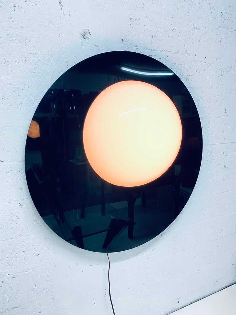 Post-Modern Postmodern Plexiglass Lunar Eclipse Orb Wall Mounted Lamp, 1980s For Sale