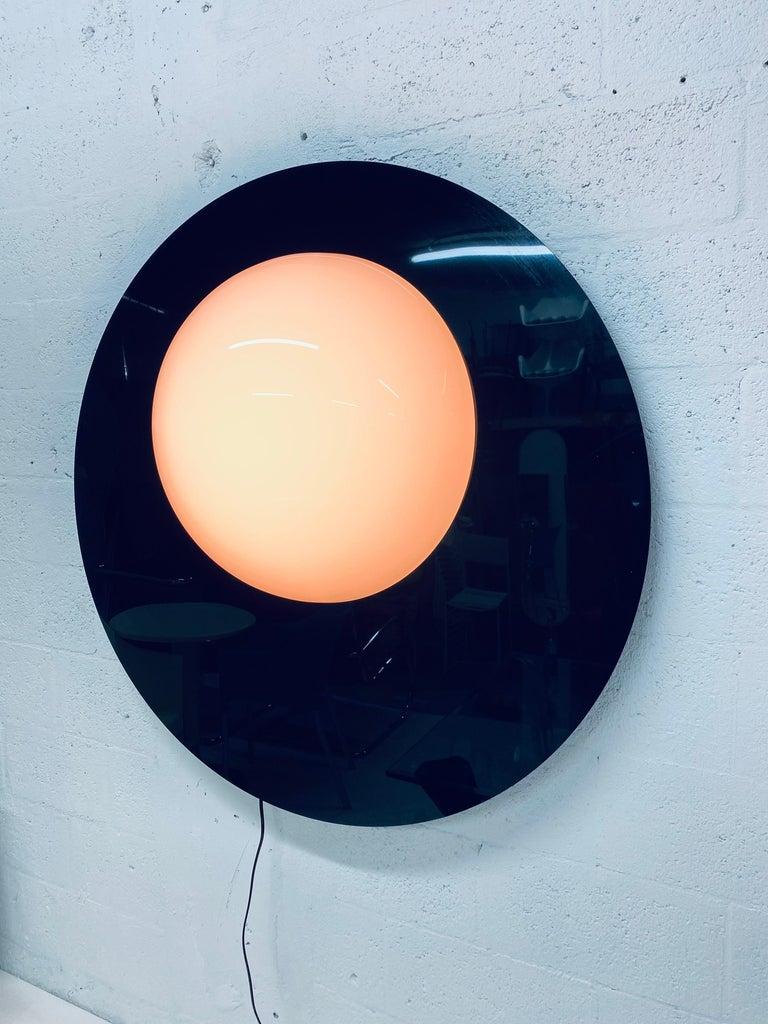 American Postmodern Plexiglass Lunar Eclipse Orb Wall Mounted Lamp, 1980s For Sale