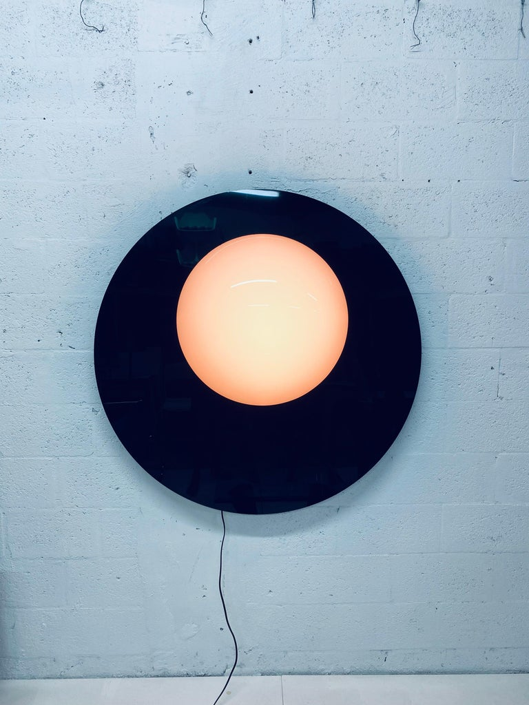 Postmodern Plexiglass Lunar Eclipse Orb Wall Mounted Lamp, 1980s In Good Condition For Sale In Miami, FL