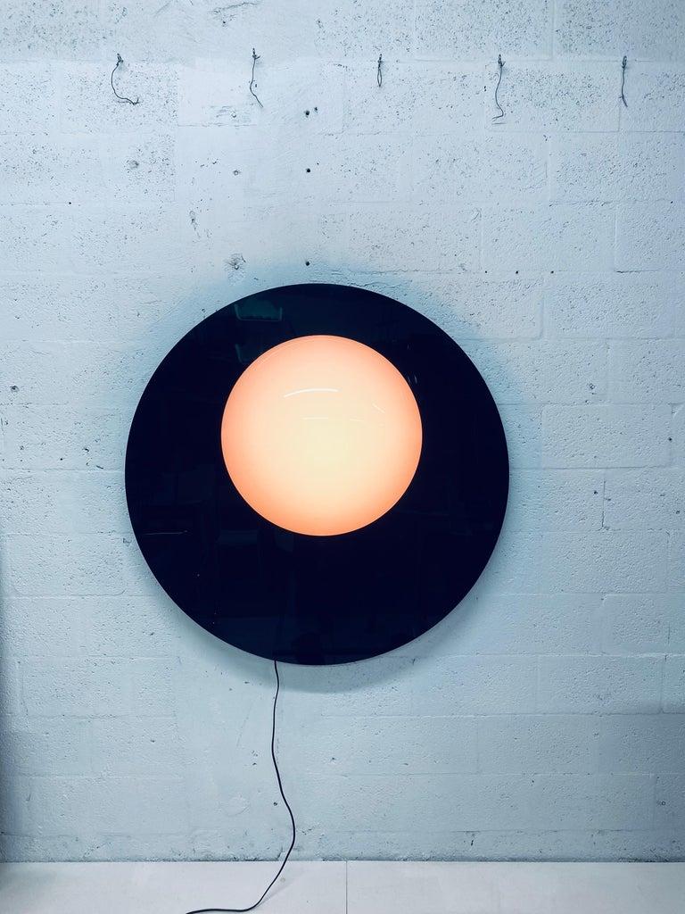 Postmodern Plexiglass Lunar Eclipse Orb Wall Mounted Lamp, 1980s For Sale 3