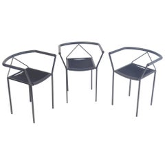 Postmodern Poltroncine Chairs by Zeus in Black Steel Italy Memphis Design Style