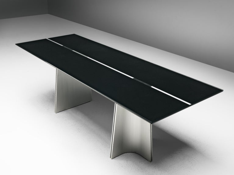 Post-Modern Postmodern Rectangular Dining Table 'Ufo' in Metal and Glass by Luigi Saccardo For Sale