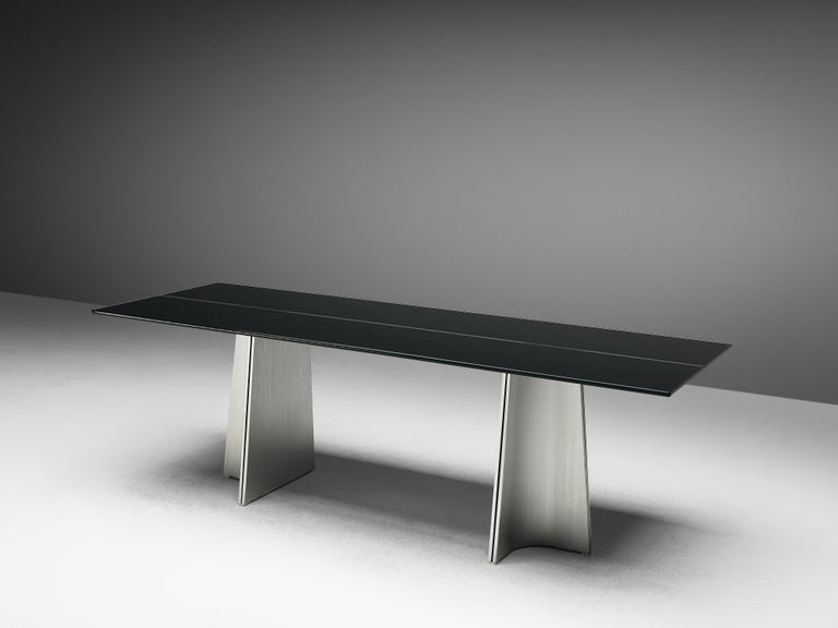 Italian Postmodern Rectangular Dining Table 'Ufo' in Metal and Glass by Luigi Saccardo For Sale