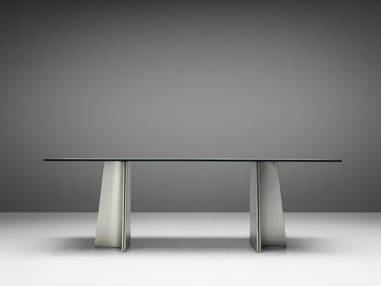 Late 20th Century Postmodern Rectangular Dining Table 'Ufo' in Metal and Glass by Luigi Saccardo For Sale