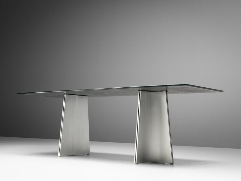 Postmodern Rectangular Dining Table 'Ufo' in Metal and Glass by Luigi Saccardo For Sale 2