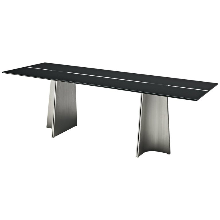 Postmodern Rectangular Dining Table 'Ufo' in Metal and Glass by Luigi Saccardo For Sale