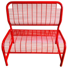 Postmodern Red Metal Bench