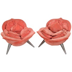 Vintage Velvet Rose Chairs by Masanori Umeda for Edra