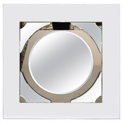 Postmodern Round Mirror on Rectangular Glass Frame