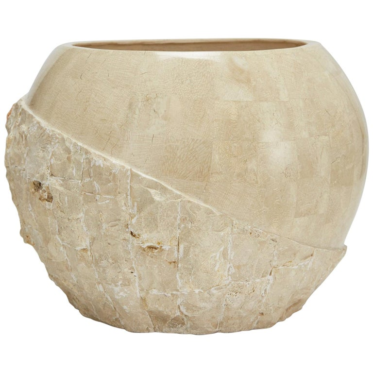 "Postmodern Round Tessellated Stone ""Bombay"" Planter in Rough and Smooth, 1990s For Sale"