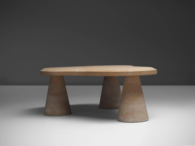 Post-Modern Postmodern Sandstone Coffee Table For Sale