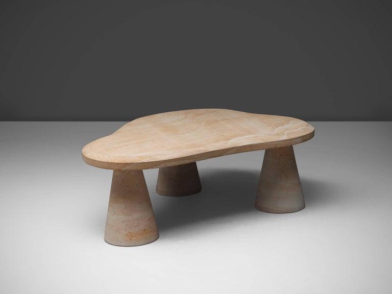Italian Postmodern Sandstone Coffee Table For Sale