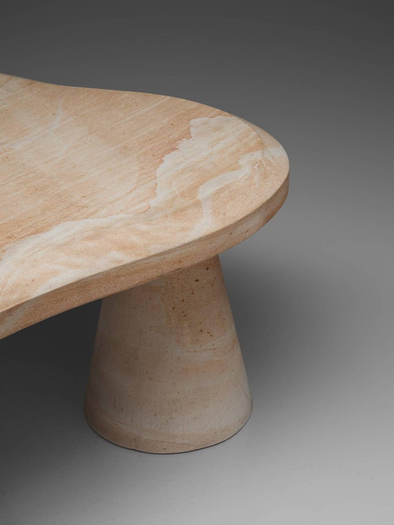 Postmodern Sandstone Coffee Table In Good Condition For Sale In Waalwijk, NL
